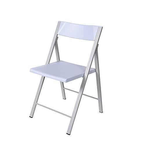 LQ Tragbarer Klappstuhl, Stapelbarer Kunststoffstuhl Im Wohnzimmer Mit Rückenlehne, Starrer Klappstuhl, Geeignet Für Den Angelrucksack Im Wohnzimmer Der Küche (Farbe : Weiß)