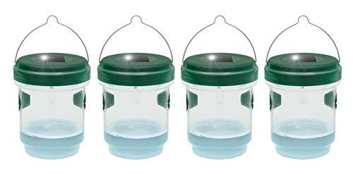 Gardigo 2 in 1 Mückenfalle und Wespenfalle 4er Set mit Solar Licht I LED Leuchte lockt Mücken an, einfach mit Lockstoff füllen I Für Drinnen und Draußen