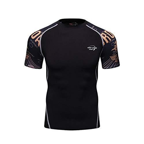 WENHUI Sports Fitness T-Shirt T-Shirt à Manches Courtes Imprimé T-Shirt à Manches Courtes pour Hommes H-M