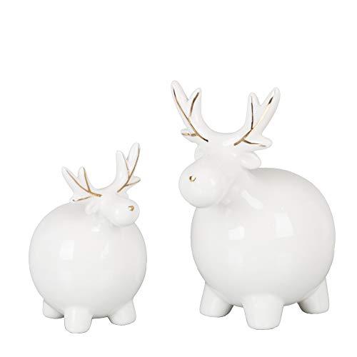 Valery Madelyn Renna Natalizia 2 Pezzi, Figurine di Alci in Ceramica Ornamenti per La Decorazione della Tavola 6 * 7 * 10cm/4 * 10 * 12cm