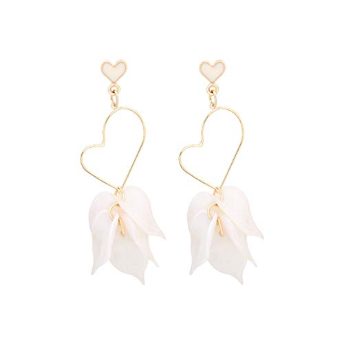 QIN Korean acrylic soda earrings Long-term new heart stud earring Top contract white petals earrings for female banquet jewels