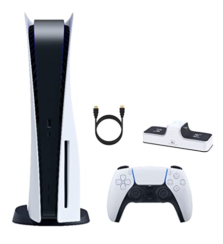 Sony playstation 5 gaming bundle, playstation 5 825gb disk console, uhd blu-ray, wireless controller, dual charger dock for ps5 controller, up to 120fps, 8k output, 4k-tv gaming, mazepoly accessories