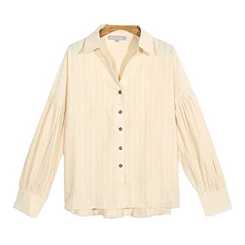 shirts Za 100% Cotton Green Blouse 2020 Spring Autumn Blouses Women Long Sleeve Casual Tops Office Lady Casual Top Blusas-Yellow-M