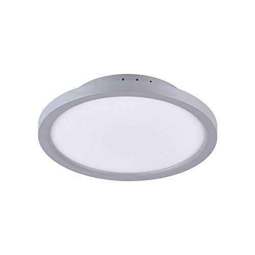 LeuchtenDirekt, LED Deckenleuchte, Ø30cm, dimmbar über Wandschalter, 4-Stufen Dimmung, Deckenlampe, Silber, warmweiss, rund, IP 20