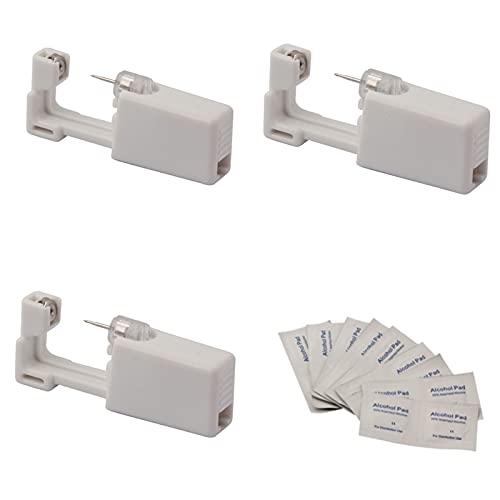 Milkvetch Kit de PerforacióN de Orejas, 3 Perforadores, 3 Clavos Al Azar, 1 Caja de Almohadillas de AlgodóN Desinfectantes con Alcohol