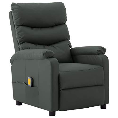 vidaXL Massagesessel mit Heizfunktion Fernsehsessel Relaxsessel Liegesessel TV Sessel Ruhesessel Polstersessel Ledersessel Grau Kunstleder