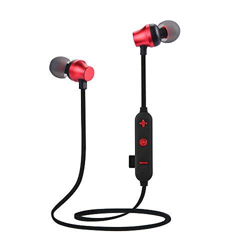 Alikeey Draadloze hoofdtelefoon, draadloze bluetooth, TF MP3, flash-geheugenkaart, SD-kaart 4.2, stereo sporthoofdtelefoon, oortelefoon voor iPhone, iPad, Samsung, Huawei, xiaomi en meer In het oor rood