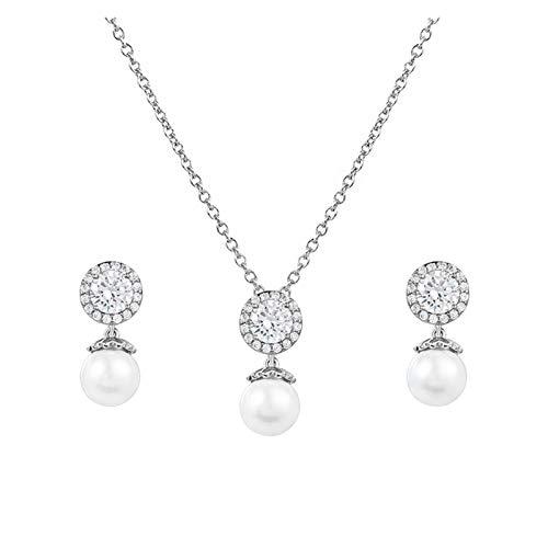 LPZW Europa y los Estados Unidos Ore Ore Fall Necklace Joyas de Temperamento Juego de Joyas resalte Collar de Perlas Mujer (Color : A)