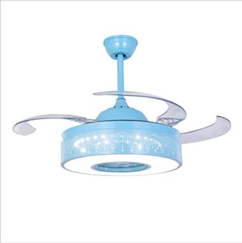 Dszltf 36/42 Pulgadas Invisible Fan Light Simple Sala de Estar Dormitorio Sala de Comedor Hermosa luz de Ventilador de Techo con Control Remoto LED Light CRADADELIER,Azul,36in
