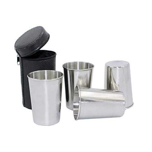 4 Pieces 170ml 57 oz Stainless Steel Shot Cups Shot Glass Drinking Vessel with One Black PU-Leather Carrying Case Outdoor Camping Travel Coffee Tea Cup Silver Cup Black Case