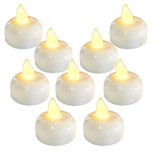 Homemory 24 Pack Waterproof Flameless Floating Tealights, Warm White Battery Flickering LED Tea Lights Candles - Wedding, Party, Centerpiece, Pool & SPA