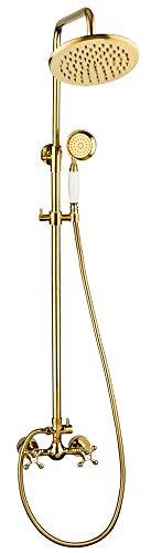 Retro Duschset Komplett Dusche Armatur Porzellan Kreuzgriff Gold Serie ROXI