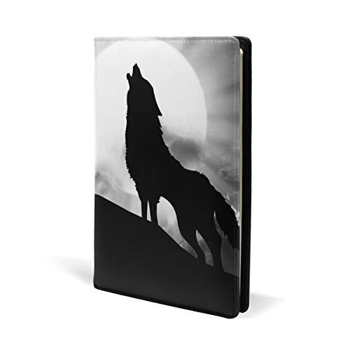 Galaxy Sky Moon Wolf Roar Buch Cover Leder Schule Büro Notizbuch Lehrbücher Paperback Hardcove A5 14,8 x 22,9 cm für Mädchen Jungen