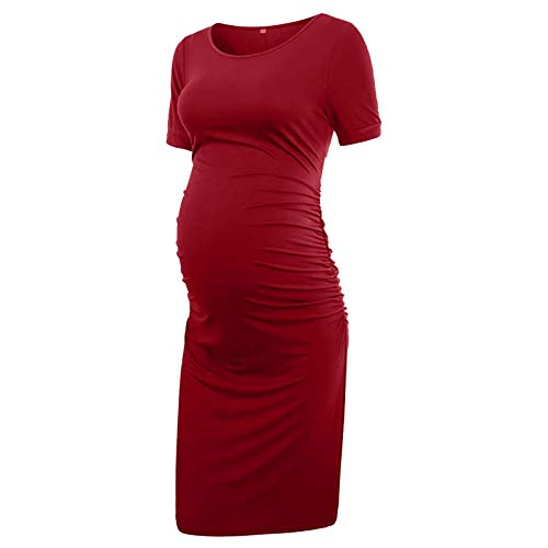 Vuncio Vestido de maternidad para mujer, verano, tallas grandes, manga corta, maxivestido, para embarazadas, tiempo libre, informal, elegante vestido de playa rojo XL