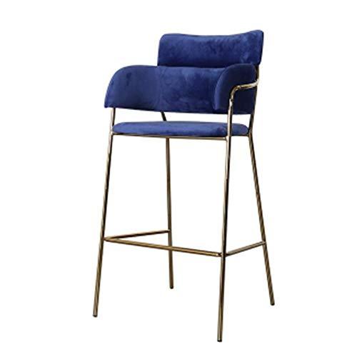 Barkruk barstoel modern Simplicity eetkamerstoel Nordic velvet hoge kruk met gouden metalen poten verschillende kleuren naar keuze blauw