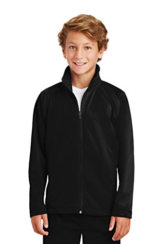 SPORT-TEK Boys' Tricot Track Jacket M Black/Black