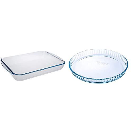 Pyrex - Essentials - Plat à Lasagnes Rectangulaire en Verre - 40 x 27 cm & 1040909 Bake & Enjoy Moule à Tarte en verre Ø 31 cm