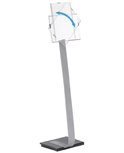 """Price comparison product image DURABLE Floor Sign Stand for Letter-Size Inserts,  Study Aluminum Base,  Portrait & Landscape,  40-1 / 2"""" - 46-1 / 2"""" Height (481423)"""