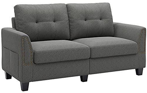 Belffin 2 Seater Sofa Small Sofa 2 Seater Fabric Two Seater Sofa Grey
