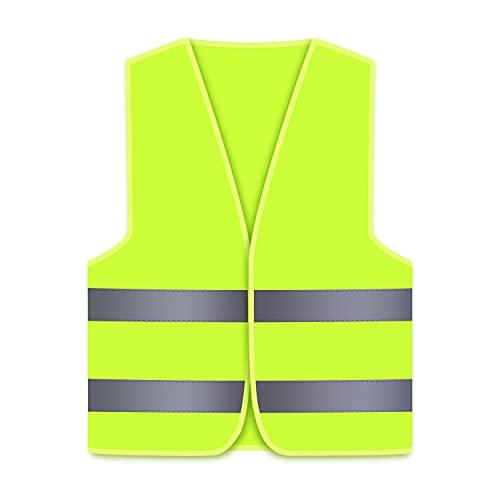 Oyayubi Warnwesten Auto Pannenweste, 2021 Gelb Warnweste, Neongelb Sicherheitsweste, Reflektierend Weste, Herren Frauen, Pkw, LKW