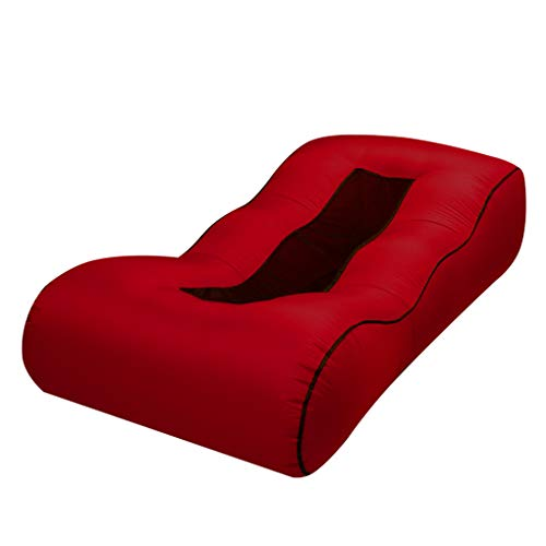 Qinghengyong Aufblasbare Air Bag Lounger Bed fauler Luftbett tragbares Couch Tragbarer Stuhl im Freien Strand Folding wasserdichtes Bett Wein rot1