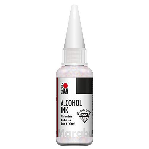Marabu 12160059511 - Alcohol Ink Diamant für funkelnden Schimmer-Effekt, 20 ml, Alkoholtinte für nicht saugende Untergründe, beschichtetes Spezialpapier, Metall, Keramik und Glas