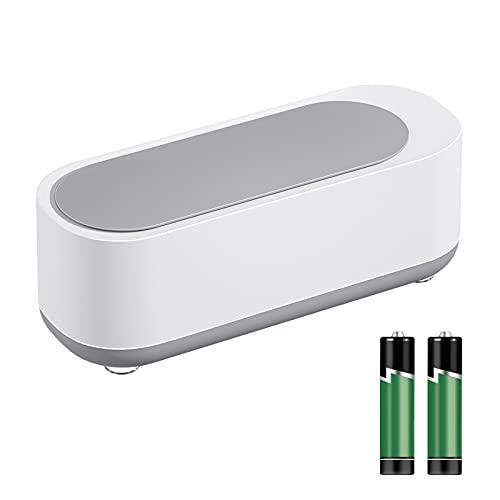 超音波洗浄機 メガネ洗浄機 強力な卓上型超音波クリーナー 240ml 家庭用小型ポータブル超音波洗浄器 ワンタッチスイッチで操作が簡単です。腕時計のストラップ、宝石、貴金属、日用雑貨、入れ歯、カミソリなどの洗浄に (ホワイトグレー)