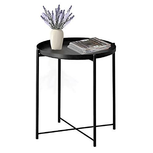 Mesa auxiliar con bandeja, mesa auxiliar redonda, mesa auxiliar pequeña de metal para sofá de café para exteriores, Negro