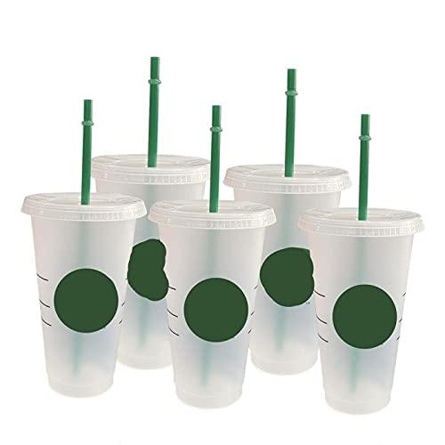 Copa de vino con tapa con logotipo que cambia de color, tazas de café reutilizables vaso de plástico con acabado mate (color: 100 piezas con logotipo)