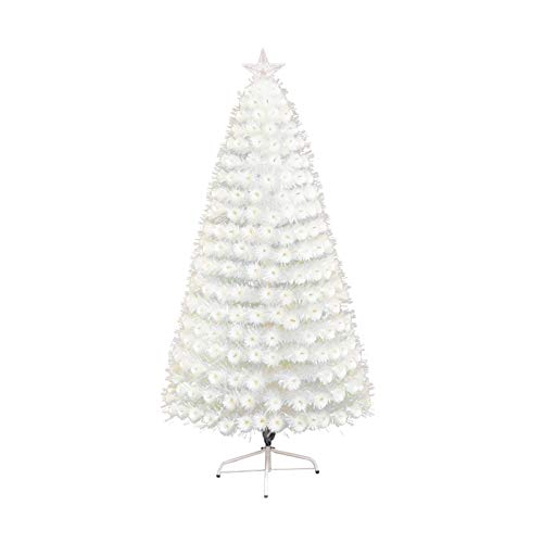 SMQHH Christmas Tree Artificial Christmas Tree Seasonal Decoration Pre-lit Artificial Christmas Tree Includes Pre-Strung White Lights and Stand White Iridescent (Size : 150cm(5FT))