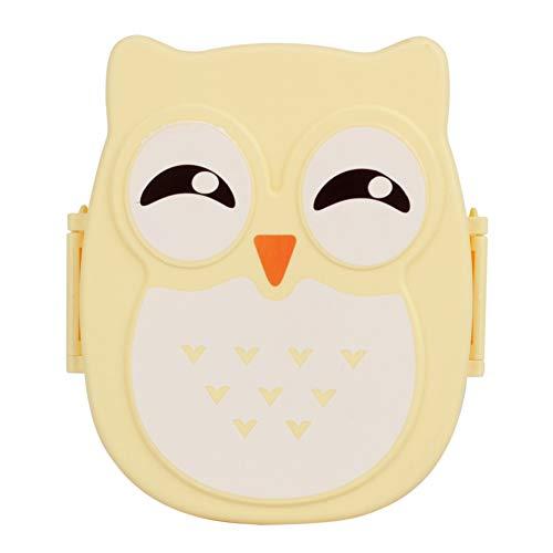 Yosoo Contenitore lunchbox portatile, motivo dolce gufo, perfetta tenuta, forma rettangolare, per frutta, per bambini e adulti, circa16,8 x 13 x 7 cm, capacità1050 ml, colore giallo