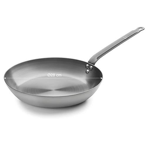 Lacor - 63628 - Sartén Ferrum Hierro - Ecológica, Compatibilidad con Todo tipo de cocinas (incluidas las de inducción) y horno, Máxima garantía, sin Antiadherente, 28cm
