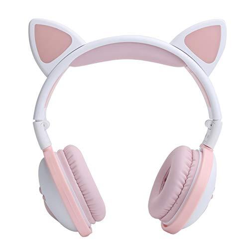 Auriculares Bluetooth con forma de oreja de gato, auriculares LED plegables, bonitos auriculares deportivos HIFI, con batería de 400 mAh, cable de enchufe AUX de 3,5 mm(Leche en polvo blanca)