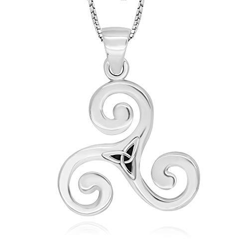 925 Sterling Silver Celtic Triple Spiral Triskele Triskelion Pendant Necklace, 18'