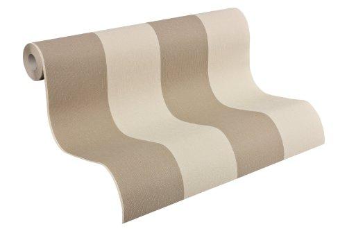 A.S. Création Vliestapete Elegance Tapete mit textilartiger Oberfläche Blockstreifentapete 10,05 m x 0,53 m beige braun Made in Germany 179036 1790-36