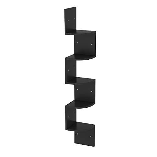 Radelldar 5 Ablagen Eckregal Schwarz Schweberegal Zickzackregal Holz für Küche, Schlafzimmer, Wohnzimmer, Arbeitszimmer, Büro, (Schwarz)