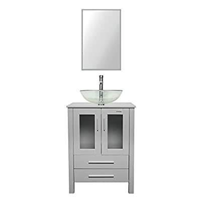"eclife 24"" Bathroom Vanity and Sink Combo Grey Vanity Round Clear Tempered Glass Vessel Sink & 1.5 GPM Water Save Faucet & Solid Brass Pop Up Drain, W/Mirror (A16B02GY)"