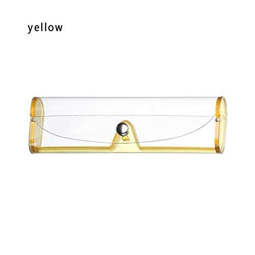 Funda de Gafas 1pcs Protable Gafas Cajas De Kawaii Lentes De PVC Transparente Caja Linda De Las Lentes Caja del Sostenedor del Caramelo del Color De Los Vidrios De La Muchacha (Color : Yellow)