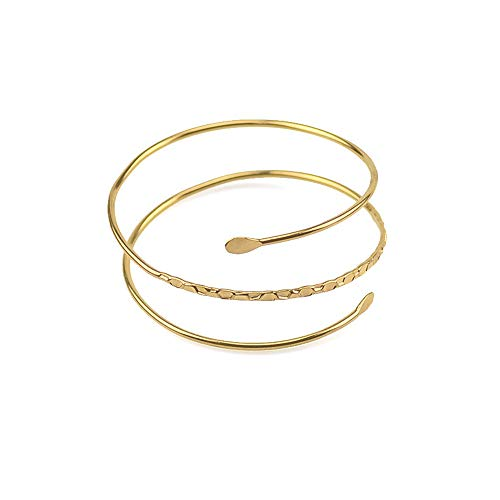 WLLAY Minimalist Gold Metal Spiral Coil Upper Arm Cuff Open Arm Bracelet Armlet Armband Bangle for Women(A:Swirl Gold)