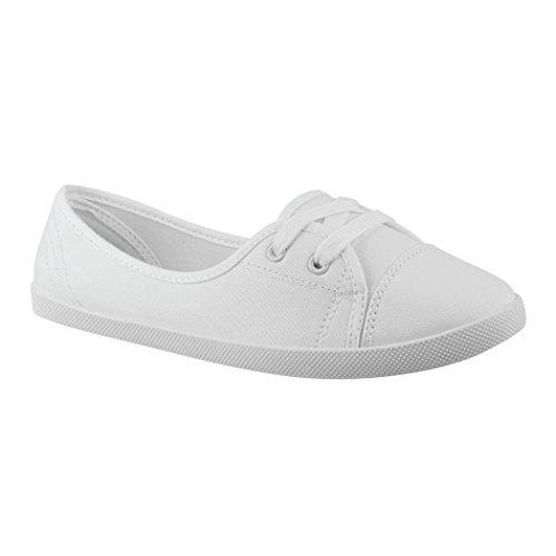 Elara Damen Ballerinas Sneaker Schnürer Chunkyrayan 3955A White-41