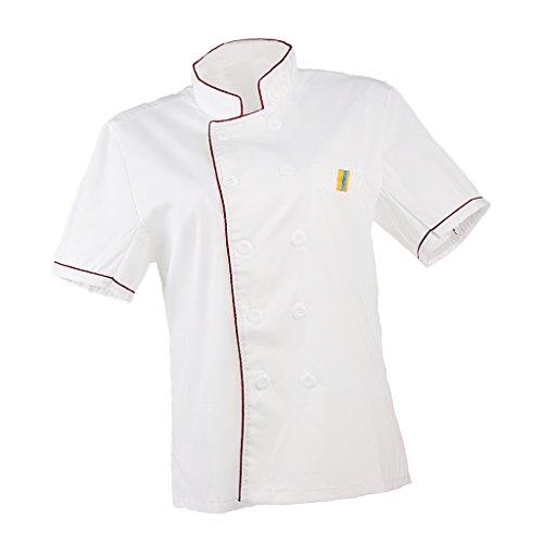 Baoblaze Abrigo Uniforme de Chef Unisex Ropa de Trabajo de Hotel Restaurante Cocinero - rojo, METRO