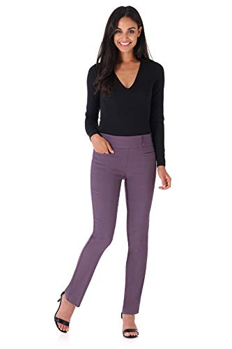 Rekucci Women's Ease Into Comfort Everyday Chic Straight Pant w/Tummy Control (2, Mauve)