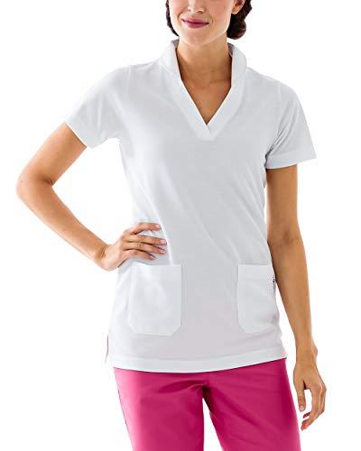 CLINIC DRESS Longshirt Damen Shirt mit 60% Baumwolle weiß 46/48