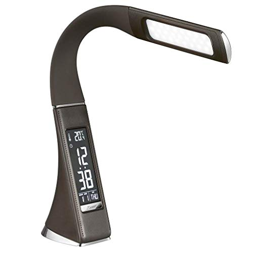 LLLQQQ Lámpara de mesa oficina lámpara de escritorio grado superior cuero cuello de cisne 5 W interruptor táctil 3 atenuador nivel iluminación con pantalla LCD para jefe oficina
