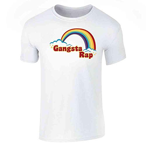 Gangsta Rap Retro Rainbow Funny Music White M Graphic Tee T-Shirt for Men
