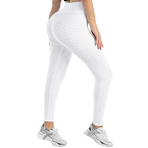JUISEE Butt Lifting Leggings Anti Cellulite Yoga Pants High Waist Workout Tummy Control Sport Tights Scrunch Leggings White