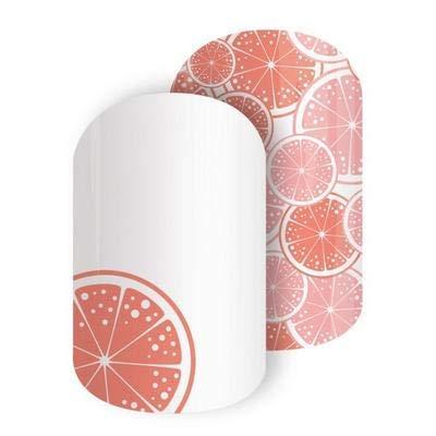 Bittersweet Slices - Jamberry Nail Wraps - Full Sheet - Grapefruit Slices on White