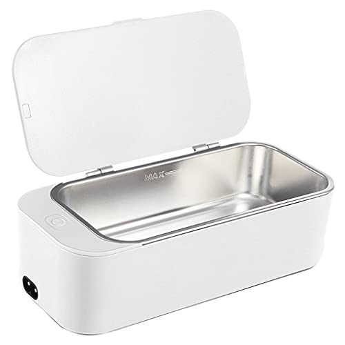 Hellery Máquina de Limpieza ultrasónica multipropósito, Limpiador electrónico de Gafas, Mini Caja de Limpieza de Joyas - Blanco