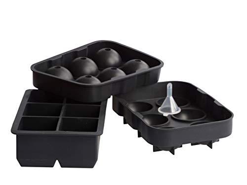 ITALETTI Eiswürfelform xxl set wiederverwendbar. Ein super geschenk für Männer. Whiskey gläser kugel und Gin Eiswürfel, Cocktail Eis Ball maker groß. Silicon ice cube form BPA Frei! Eisball Mold rund.