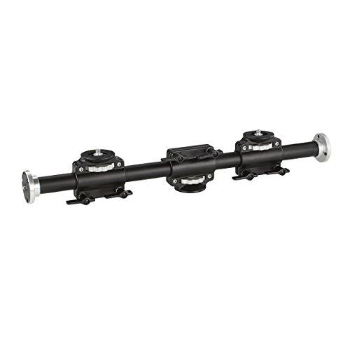 Walimex WT-628 Auslegearm (2 horizontal und vertikal verstellbare Schlitten, 2x 3/8 Zoll, 2x 1/4 Zoll, 60 cm lang, für bis zu 4 Geräte, Rohrdurchmesser 30mm, 60 cm, mit 2 Schlitten)
